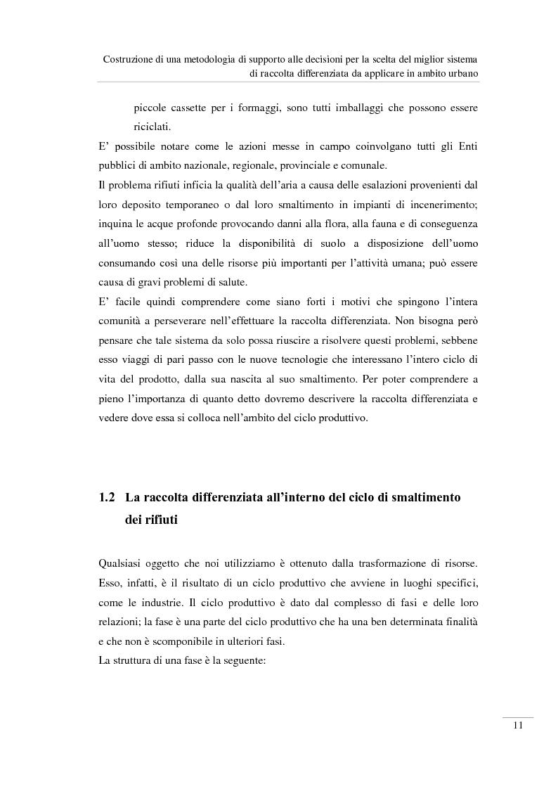 Anteprima della tesi: Costruzione di una metodologia di supporto alle decisioni per la scelta del miglior sistema di raccolta differenziata da applicare in ambito urbano, Pagina 12