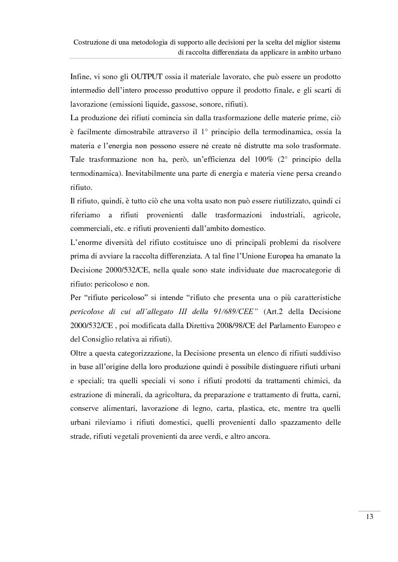 Anteprima della tesi: Costruzione di una metodologia di supporto alle decisioni per la scelta del miglior sistema di raccolta differenziata da applicare in ambito urbano, Pagina 14