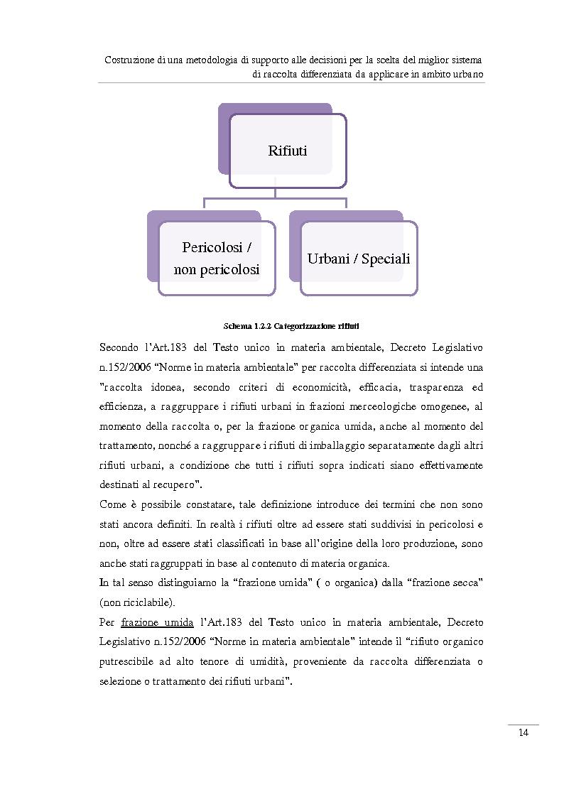 Anteprima della tesi: Costruzione di una metodologia di supporto alle decisioni per la scelta del miglior sistema di raccolta differenziata da applicare in ambito urbano, Pagina 15