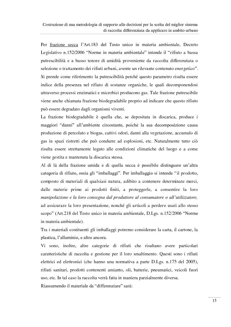 Anteprima della tesi: Costruzione di una metodologia di supporto alle decisioni per la scelta del miglior sistema di raccolta differenziata da applicare in ambito urbano, Pagina 16