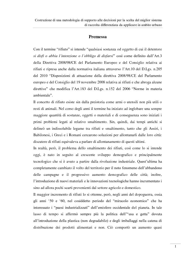 Anteprima della tesi: Costruzione di una metodologia di supporto alle decisioni per la scelta del miglior sistema di raccolta differenziata da applicare in ambito urbano, Pagina 2