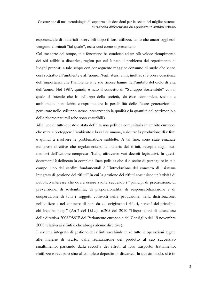 Anteprima della tesi: Costruzione di una metodologia di supporto alle decisioni per la scelta del miglior sistema di raccolta differenziata da applicare in ambito urbano, Pagina 3