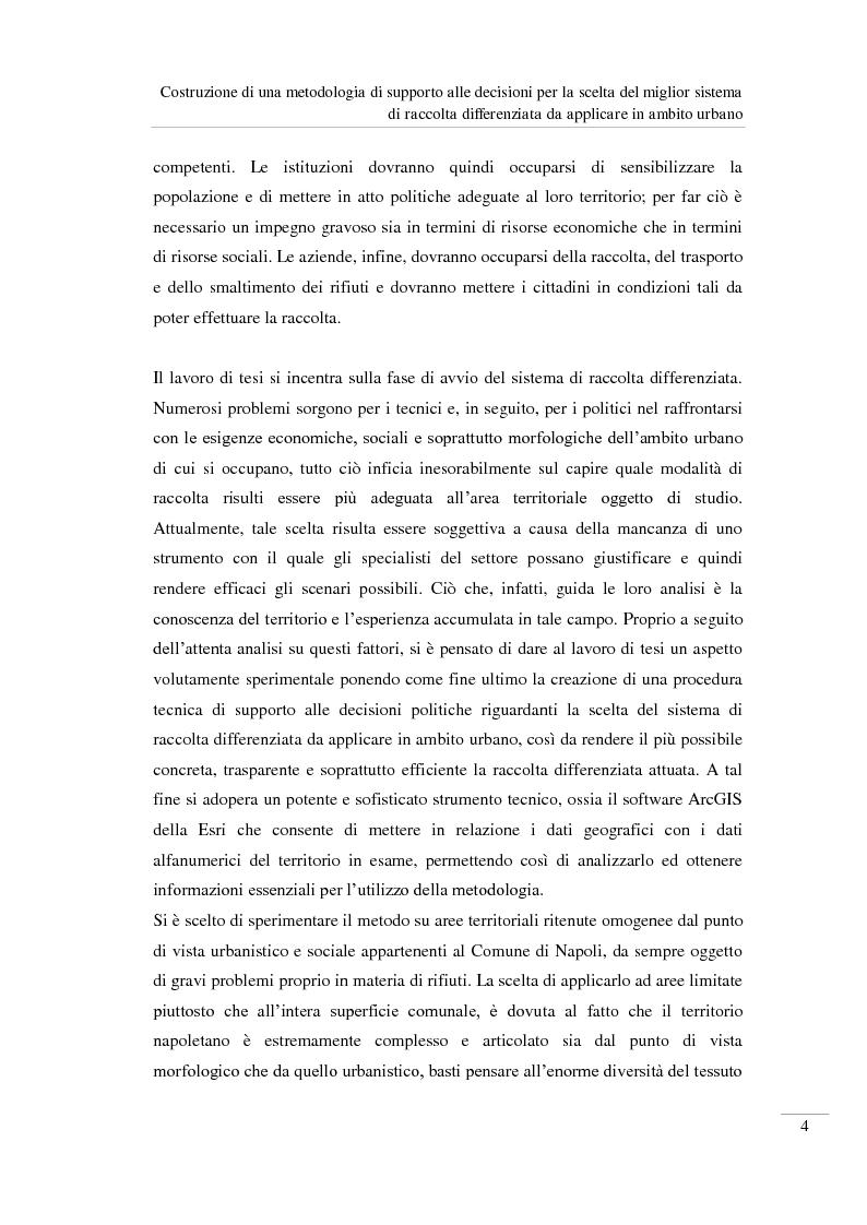 Anteprima della tesi: Costruzione di una metodologia di supporto alle decisioni per la scelta del miglior sistema di raccolta differenziata da applicare in ambito urbano, Pagina 5