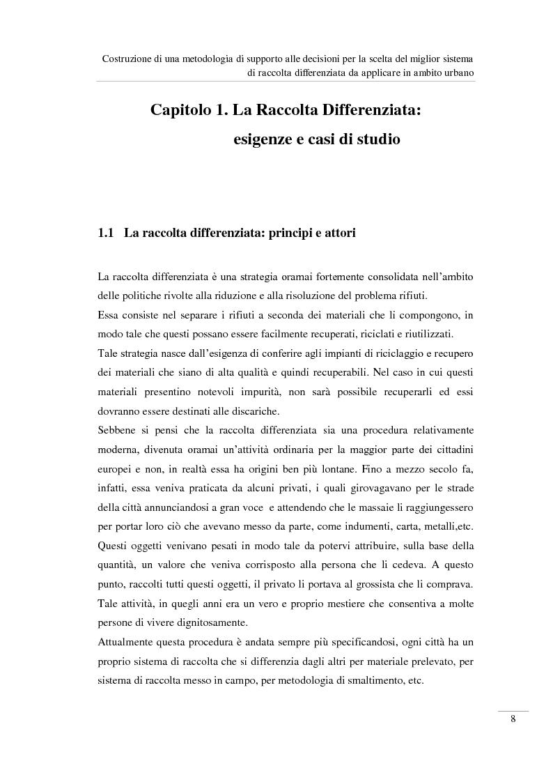 Anteprima della tesi: Costruzione di una metodologia di supporto alle decisioni per la scelta del miglior sistema di raccolta differenziata da applicare in ambito urbano, Pagina 9