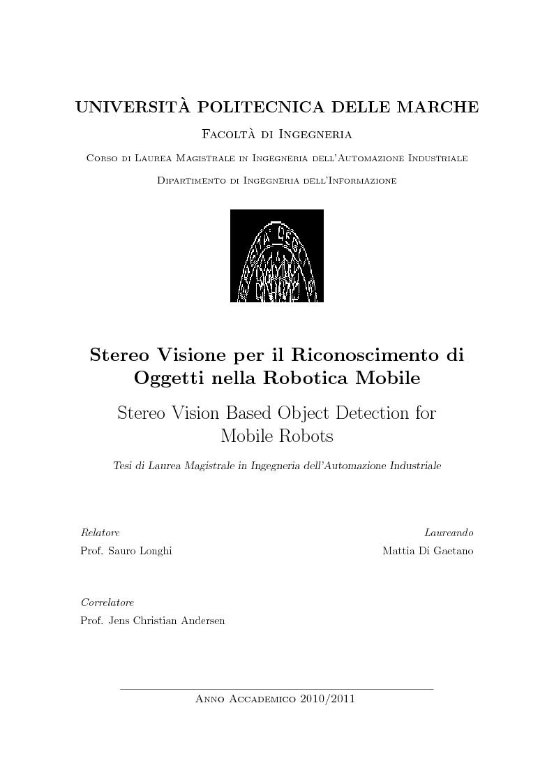 Anteprima della tesi: Stereo Vision Based Object Detection for Mobile Robots (Stereo Visione per il Riconoscimento di Oggetti nella Robotica Mobile), Pagina 1