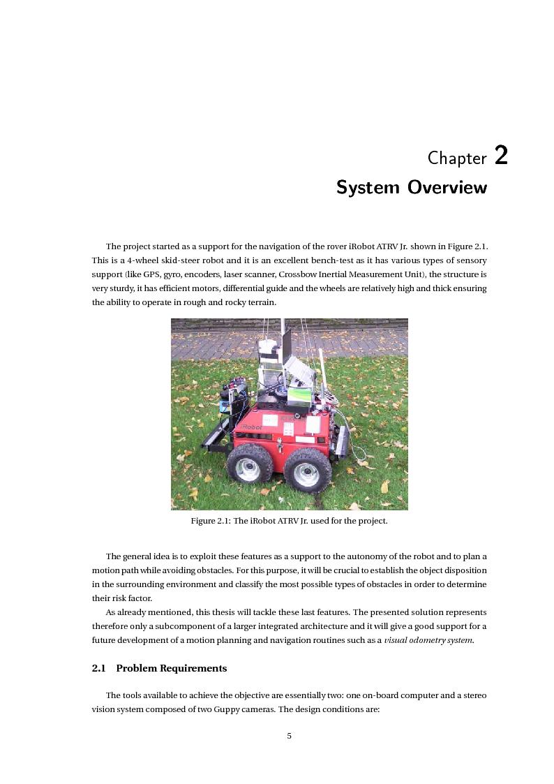 Anteprima della tesi: Stereo Vision Based Object Detection for Mobile Robots (Stereo Visione per il Riconoscimento di Oggetti nella Robotica Mobile), Pagina 7