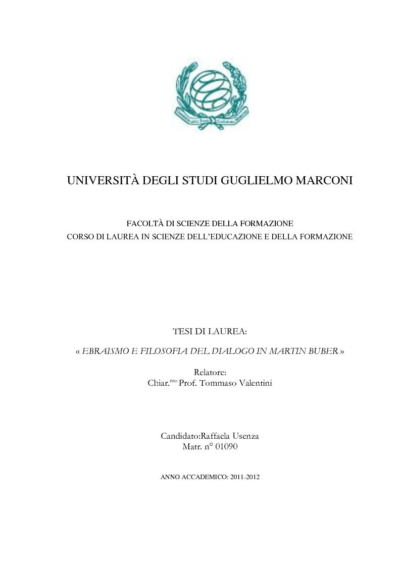 Anteprima della tesi: Ebraismo e filosofia del dialogo in Martin Buber, Pagina 1