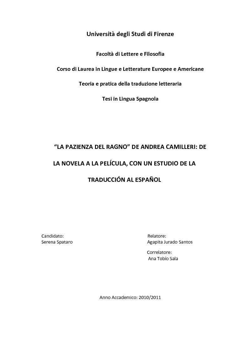 Anteprima della tesi: ''La pazienza del ragno'' de Andrea Camilleri: de la novela a la película, con un estudio de la traducción al español, Pagina 1