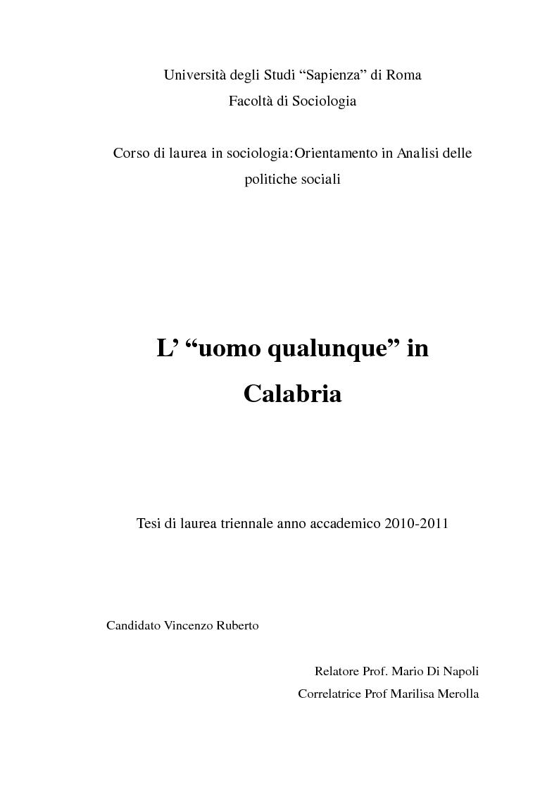"Anteprima della tesi: L' ""uomo qualunque"" in Calabria, Pagina 1"