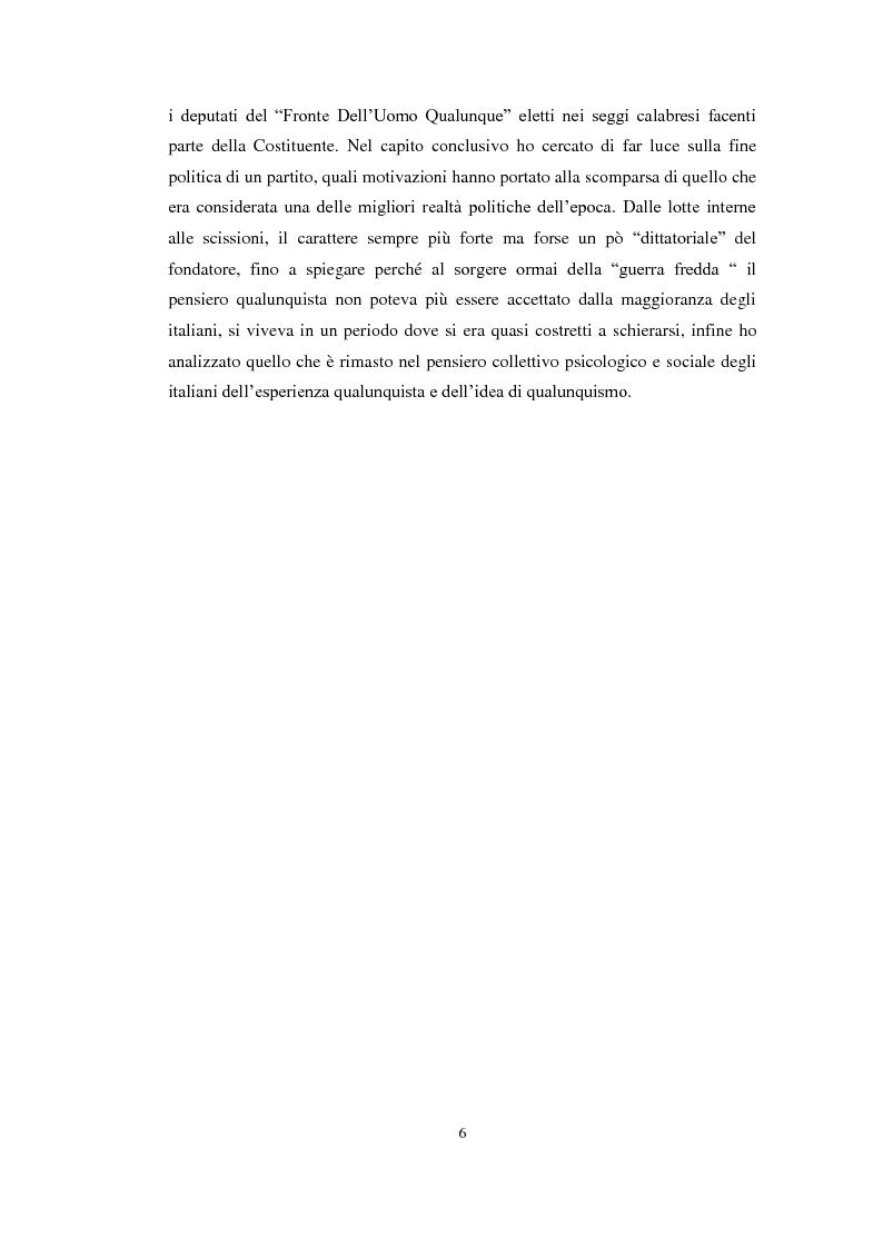 "Anteprima della tesi: L' ""uomo qualunque"" in Calabria, Pagina 4"