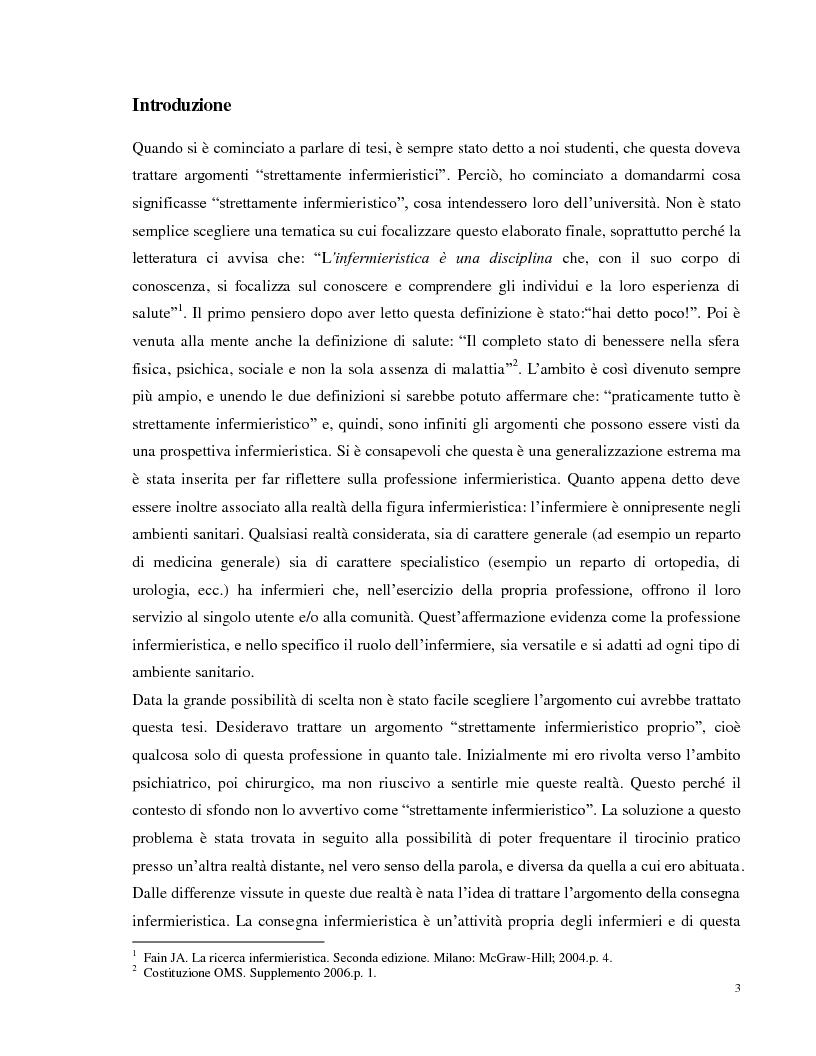 Anteprima della tesi: La consegna infermieristica: valutare l'efficacia di una nuova procedura operativa al fine di standardizzare e uniformare un'assistenza infermieristica di qualità, Pagina 2