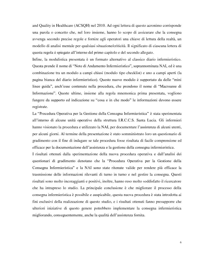 Anteprima della tesi: La consegna infermieristica: valutare l'efficacia di una nuova procedura operativa al fine di standardizzare e uniformare un'assistenza infermieristica di qualità, Pagina 5