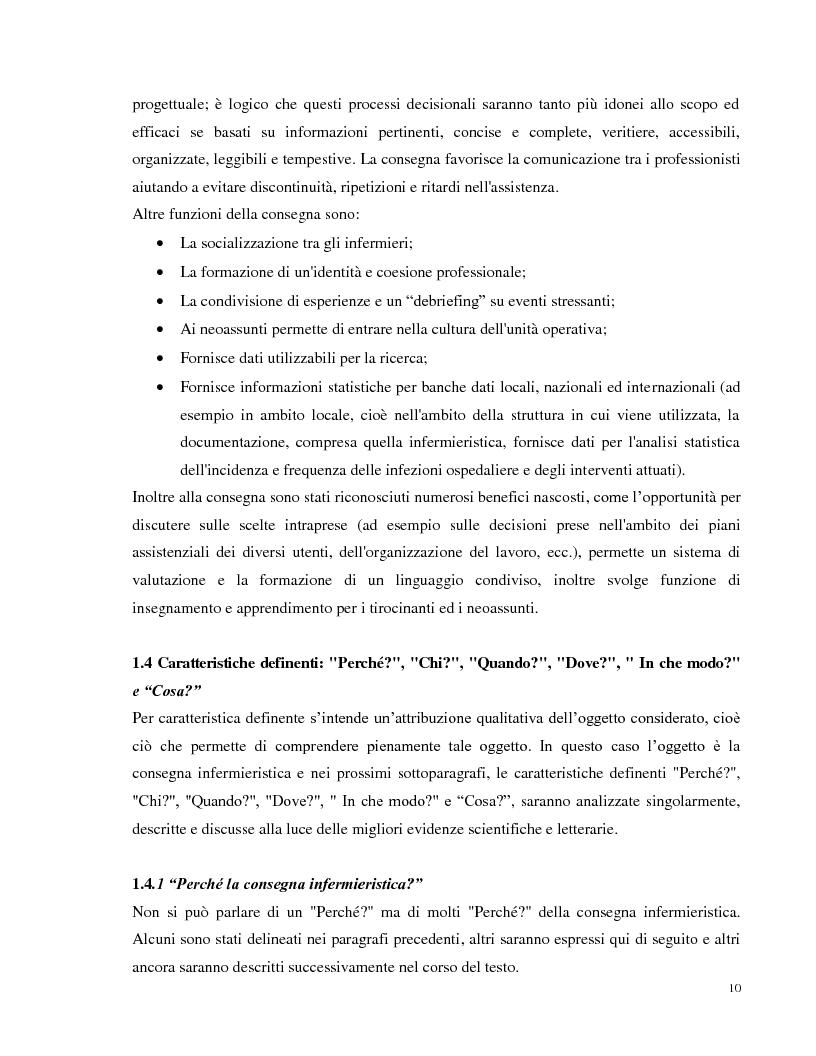 Anteprima della tesi: La consegna infermieristica: valutare l'efficacia di una nuova procedura operativa al fine di standardizzare e uniformare un'assistenza infermieristica di qualità, Pagina 9
