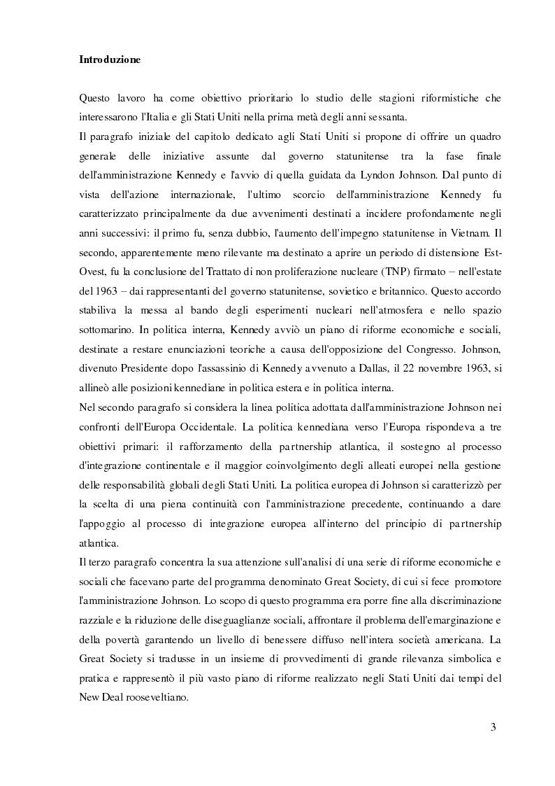 Anteprima della tesi: Italia e Stati Uniti e il riformismo nei primi anni sessanta, Pagina 2