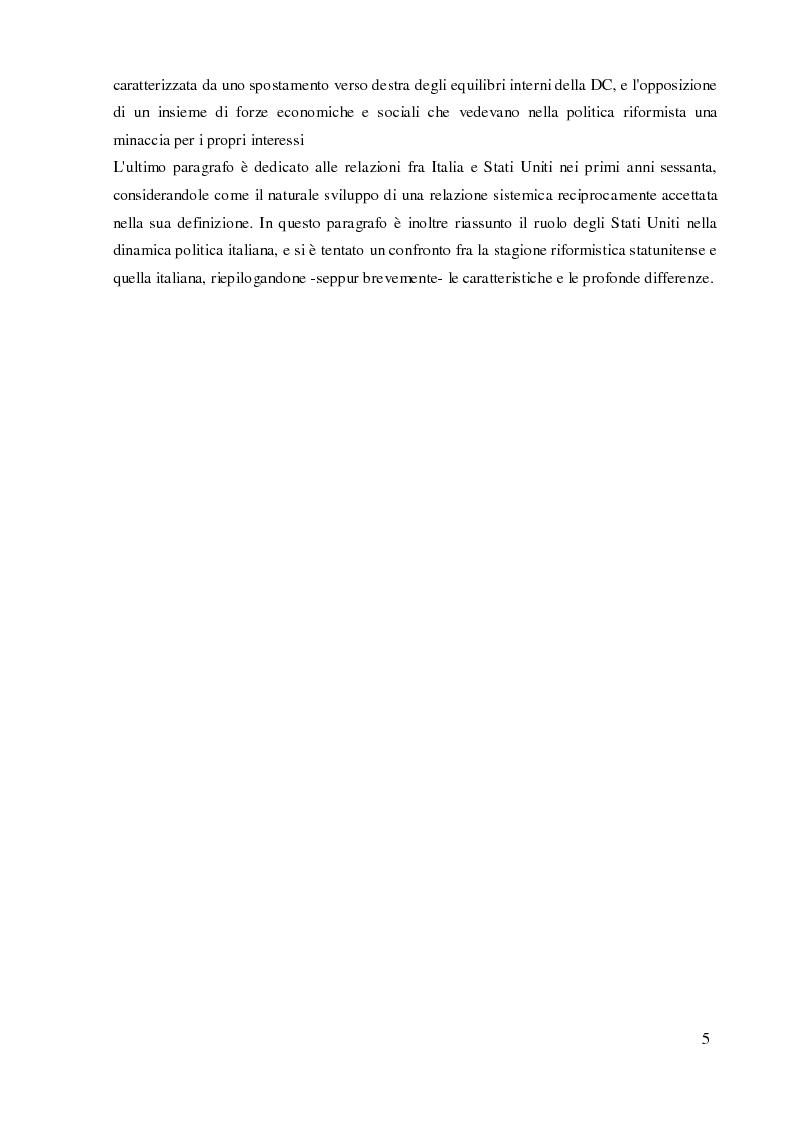 Anteprima della tesi: Italia e Stati Uniti e il riformismo nei primi anni sessanta, Pagina 4