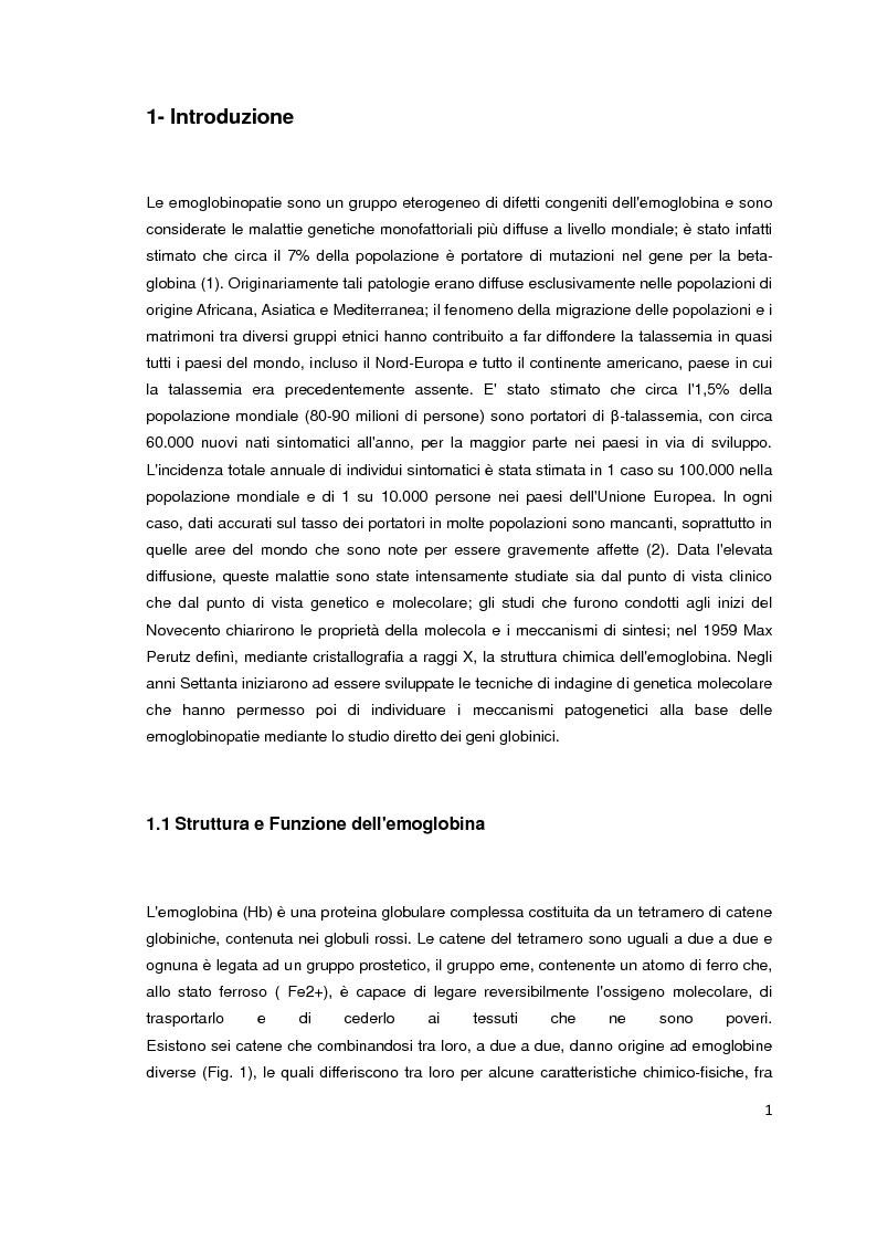 Anteprima della tesi: Screening biochimico e molecolare del gene HBB: confronto tra differenti metodologie di analisi, Pagina 2