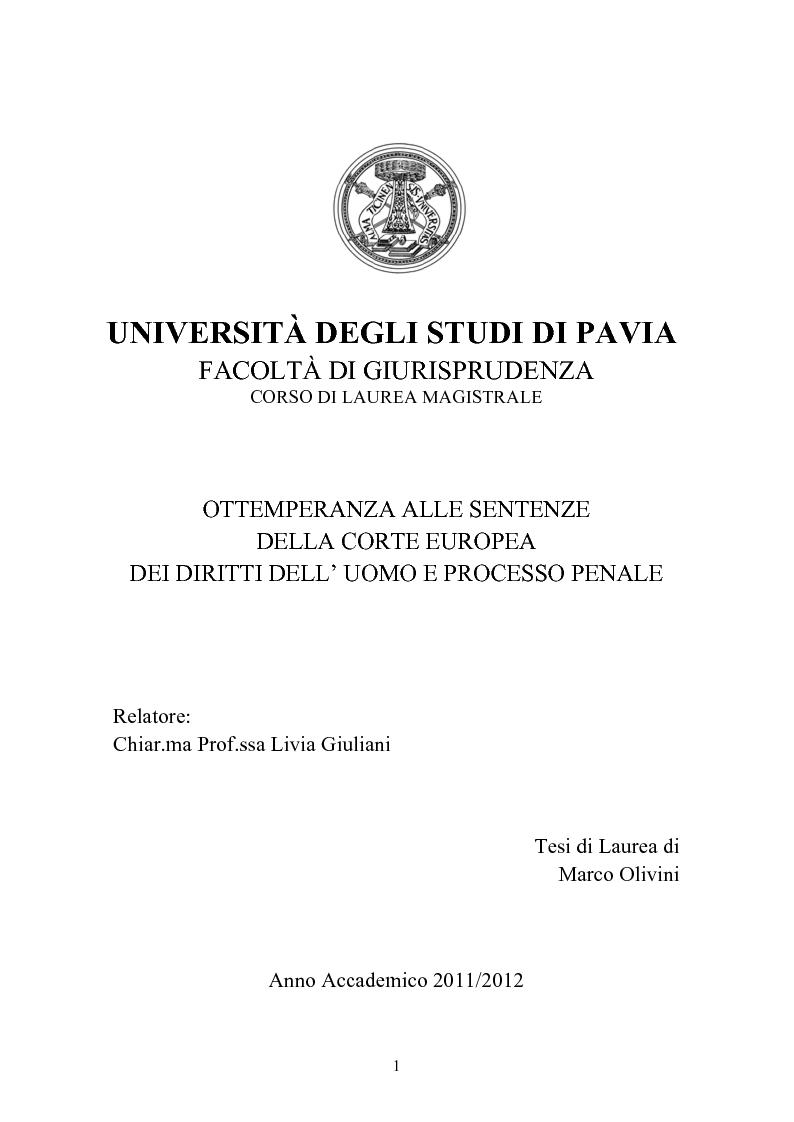 Anteprima della tesi: Ottemperanza alle sentenze della Corte europea dei diritti dell'uomo e processo penale , Pagina 1