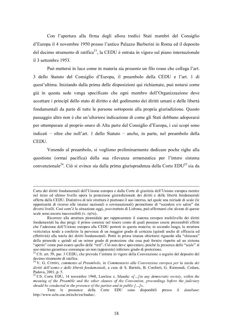 Anteprima della tesi: Ottemperanza alle sentenze della Corte europea dei diritti dell'uomo e processo penale , Pagina 10