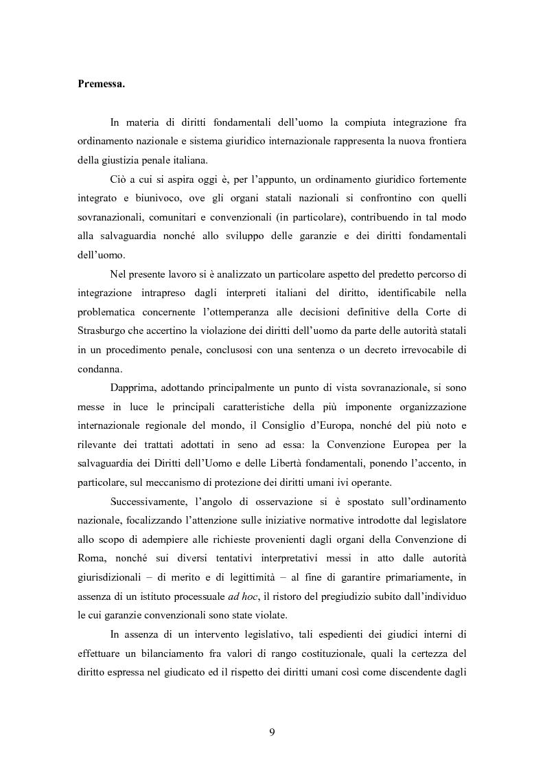 Anteprima della tesi: Ottemperanza alle sentenze della Corte europea dei diritti dell'uomo e processo penale , Pagina 2