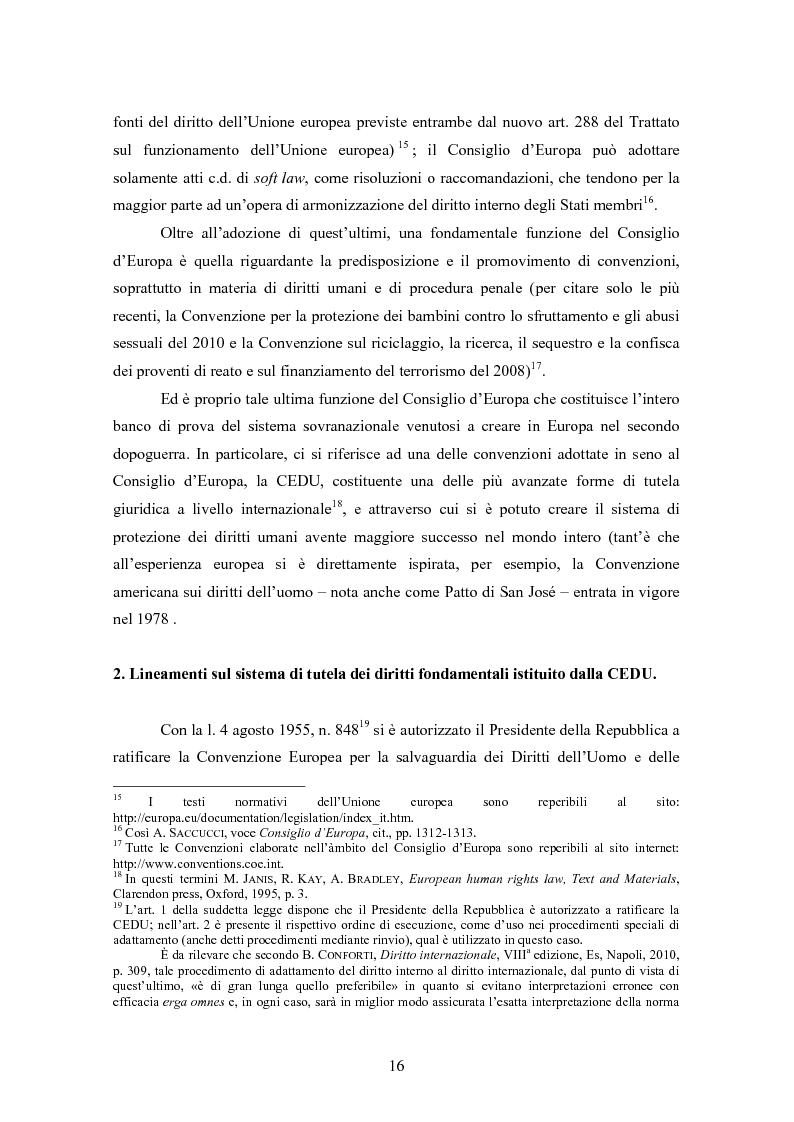 Anteprima della tesi: Ottemperanza alle sentenze della Corte europea dei diritti dell'uomo e processo penale , Pagina 8