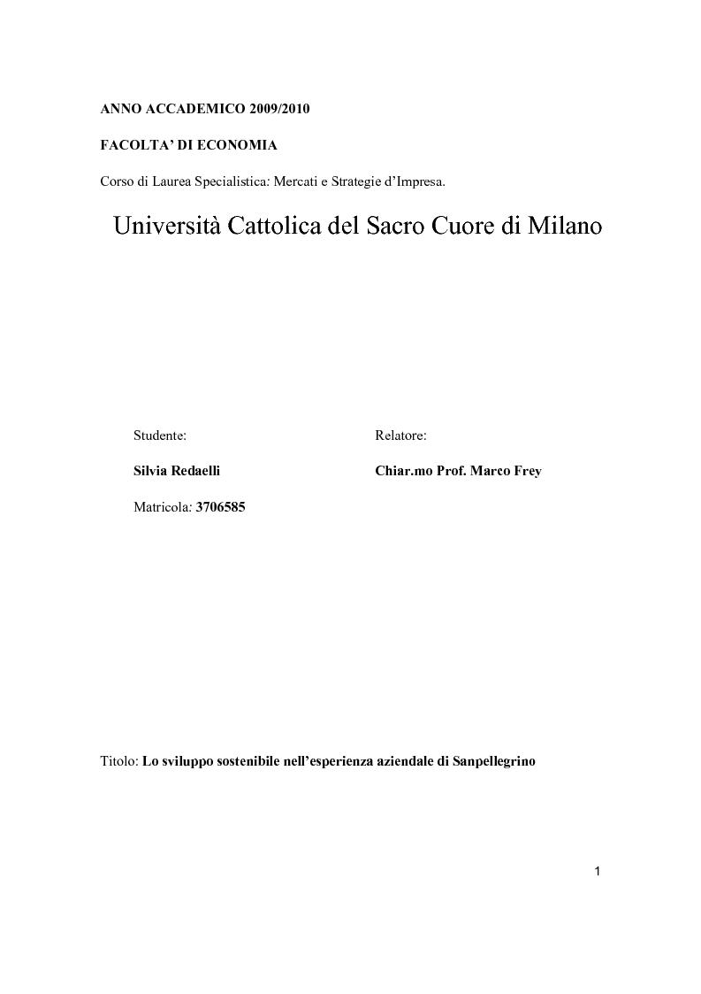 Anteprima della tesi: Lo sviluppo sostenibile nell'esperienza aziendale di Sanpellegrino, Pagina 1