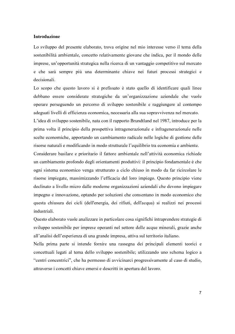 Anteprima della tesi: Lo sviluppo sostenibile nell'esperienza aziendale di Sanpellegrino, Pagina 2