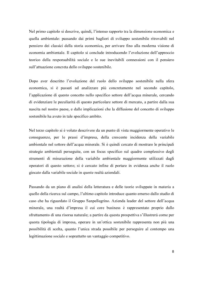 Anteprima della tesi: Lo sviluppo sostenibile nell'esperienza aziendale di Sanpellegrino, Pagina 3