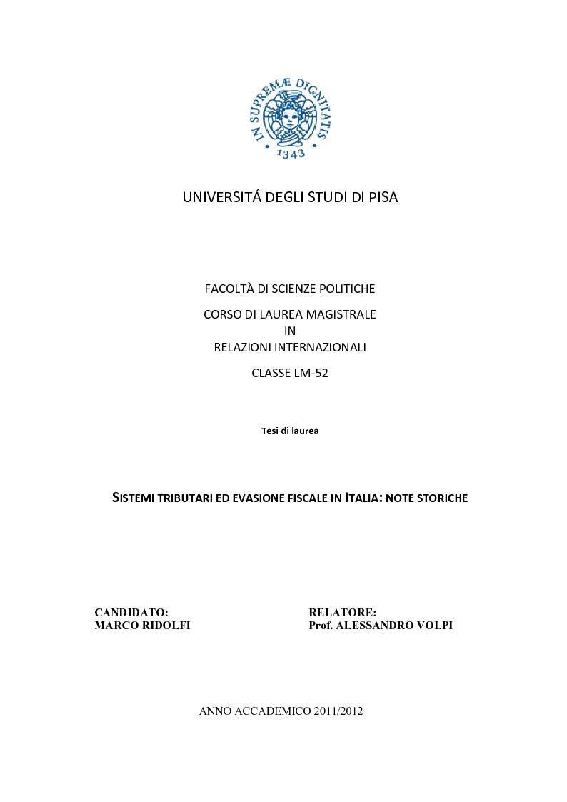 Anteprima della tesi: Sistemi tributari ed evasione fiscale in Italia: note storiche, Pagina 1