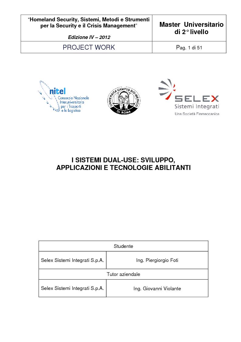 Anteprima della tesi: I sistemi Dual-Use: sviluppo, applicazioni e tecnologie abilitanti, Pagina 1