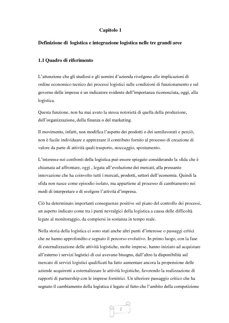 Anteprima della tesi: Un approccio integrato nella evoluzione della logistica: il caso Cellini S.P.A., Pagina 3