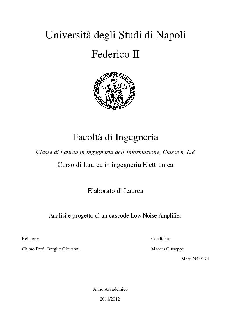 Anteprima della tesi: Analisi e progetto di un cascode Low Noise Amplifier ad 1GHz, Pagina 1