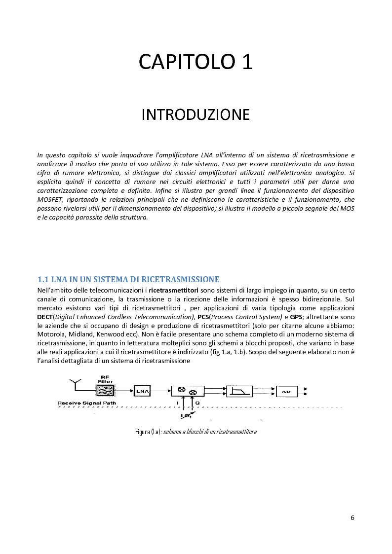 Anteprima della tesi: Analisi e progetto di un cascode Low Noise Amplifier ad 1GHz, Pagina 2