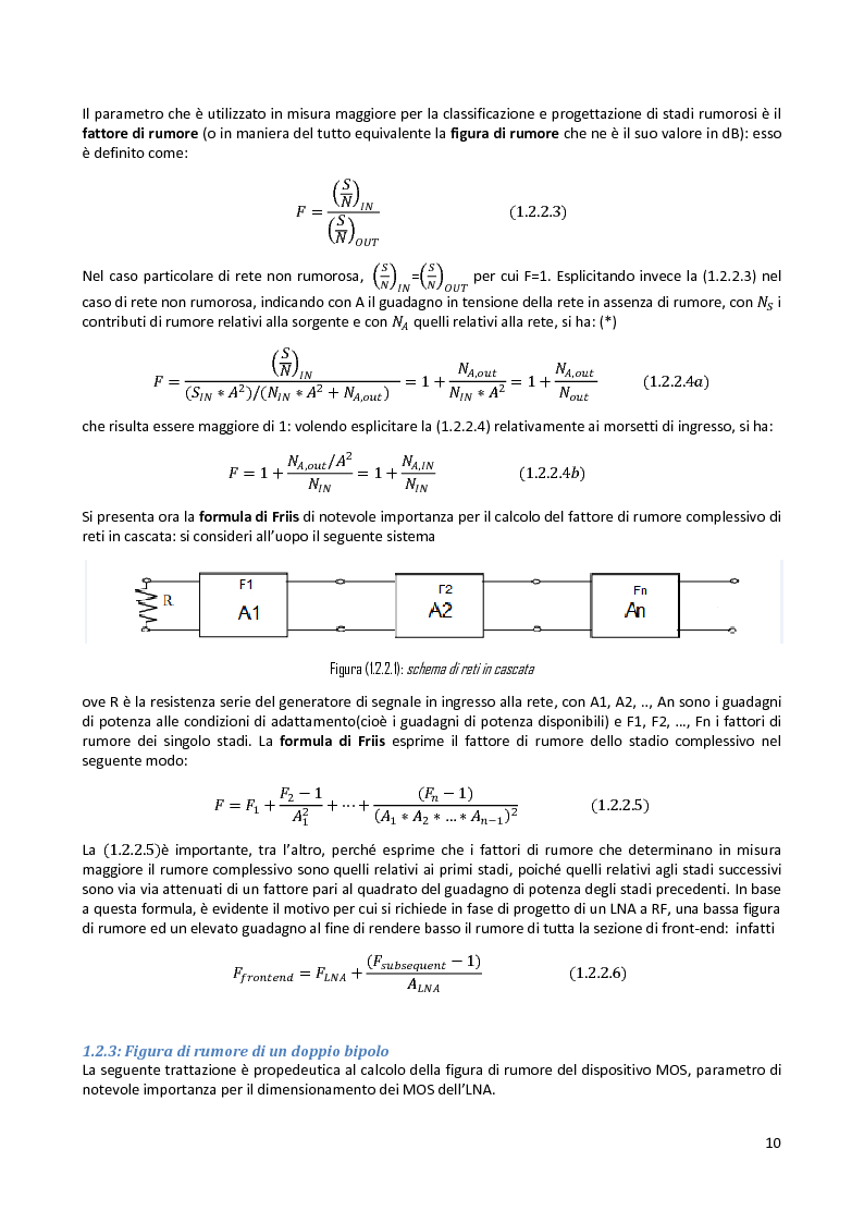 Anteprima della tesi: Analisi e progetto di un cascode Low Noise Amplifier ad 1GHz, Pagina 6