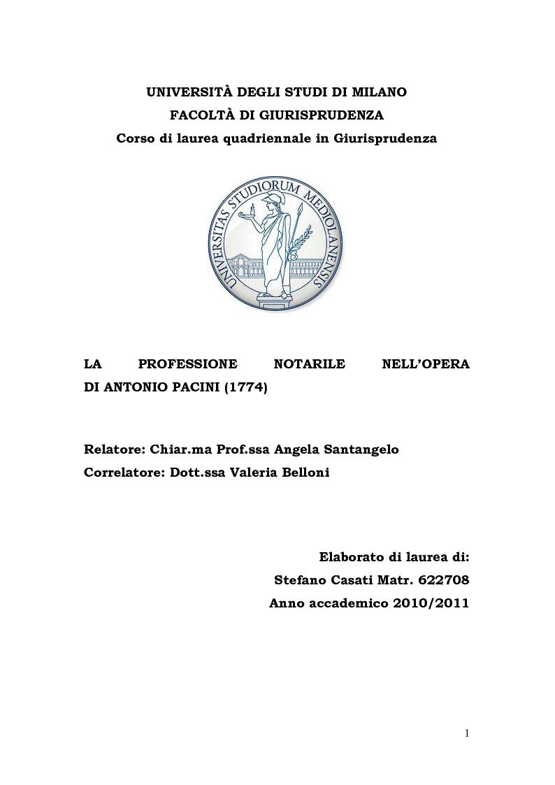 Anteprima della tesi: La Professione Notarile nell'opera di Antonio Pacini (1774), Pagina 1
