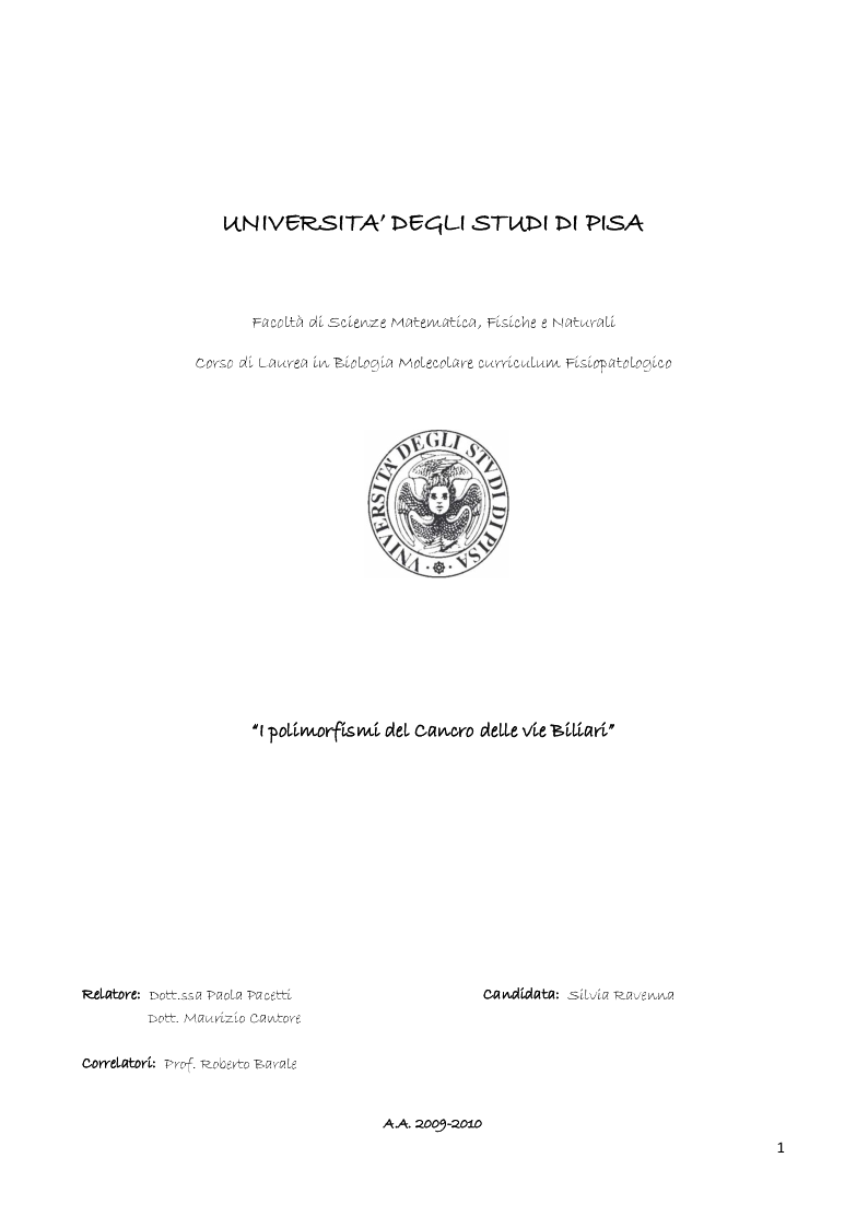 Anteprima della tesi: I polimorfismi del Cancro delle vie Biliari, Pagina 1