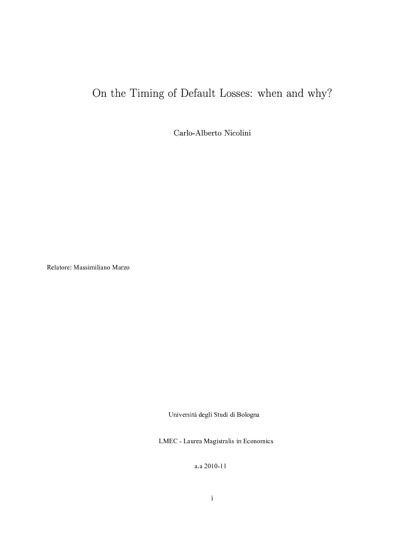Anteprima della tesi: On the Timing of Default Losses: When and Why?, Pagina 1
