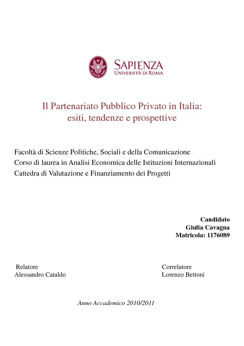 Anteprima della tesi: Il Partenariato Pubblico Privato in Italia: esiti, tendenze e prospettive, Pagina 1
