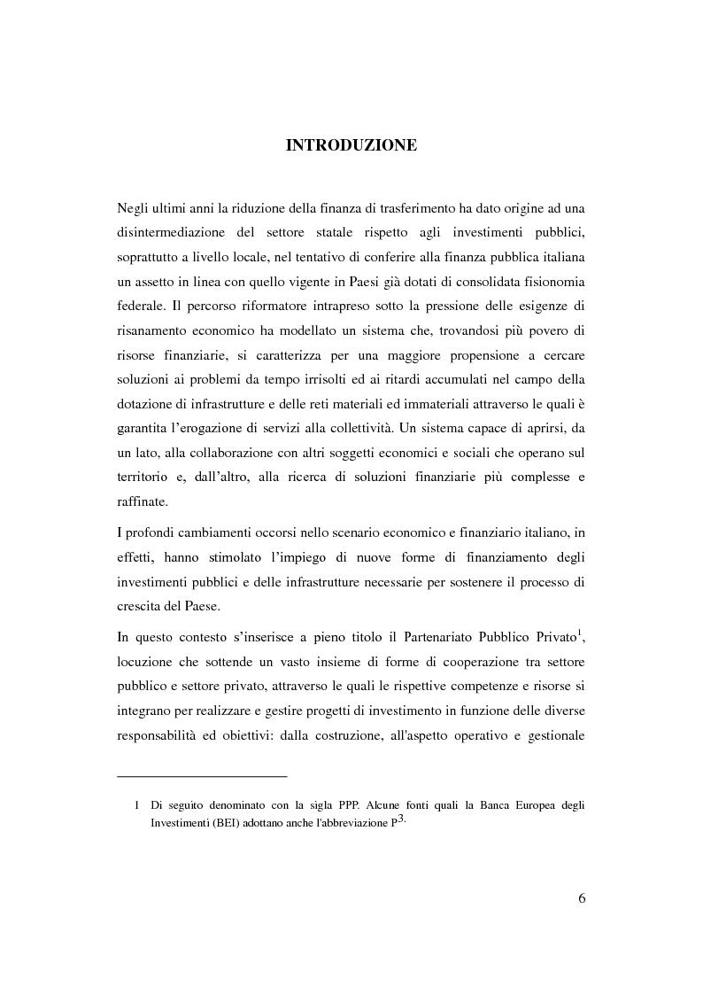Anteprima della tesi: Il Partenariato Pubblico Privato in Italia: esiti, tendenze e prospettive, Pagina 2