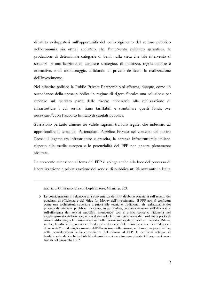 Anteprima della tesi: Il Partenariato Pubblico Privato in Italia: esiti, tendenze e prospettive, Pagina 5
