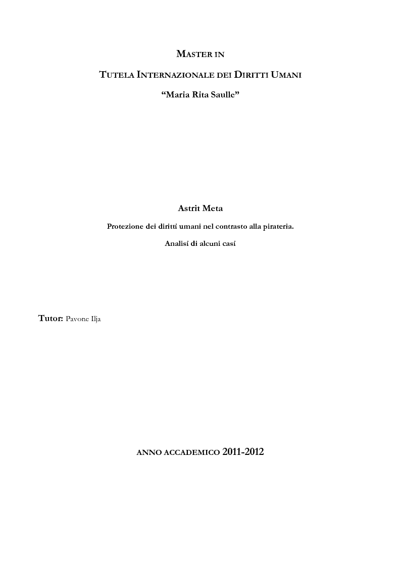 Anteprima della tesi: Pirateria e diritti umani, Pagina 1
