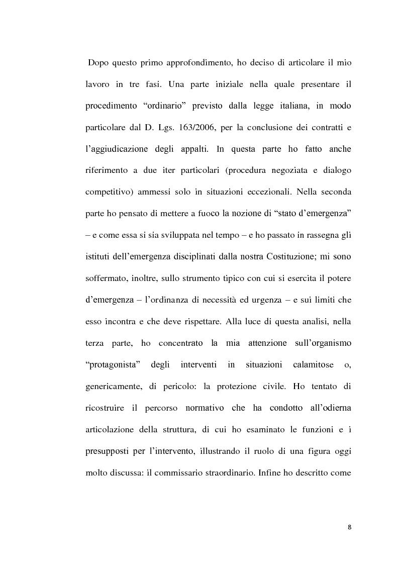 Anteprima della tesi: L'emergenza come deroga all'evidenza pubblica, Pagina 5