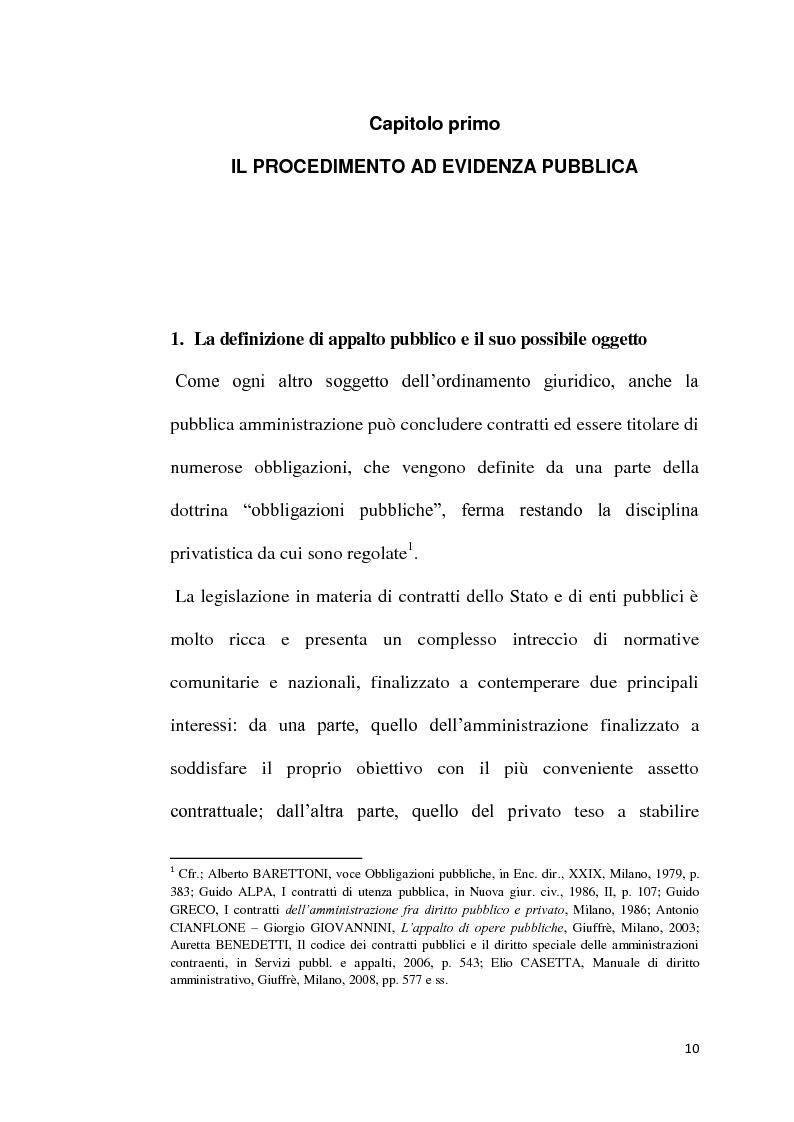Anteprima della tesi: L'emergenza come deroga all'evidenza pubblica, Pagina 7