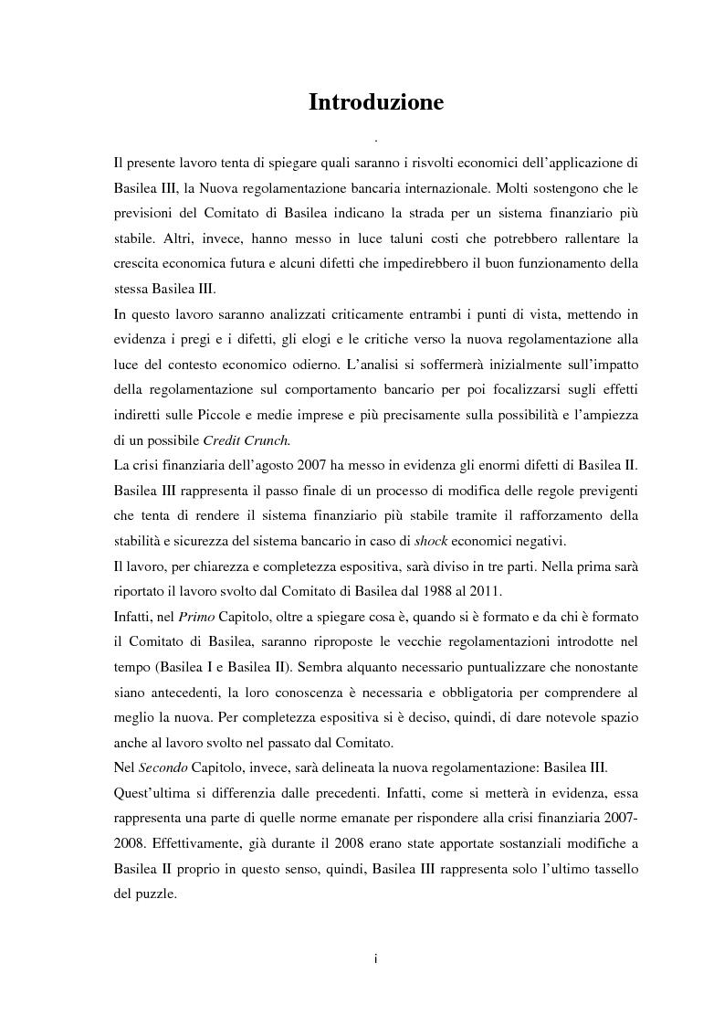 Anteprima della tesi: La Regolamentazione di Basilea III e gli effetti sulle Piccole e Medie imprese, Pagina 2