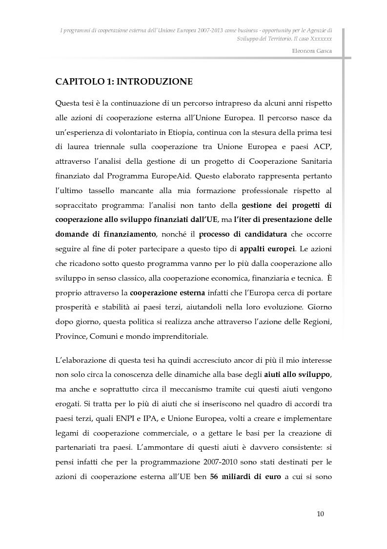 Anteprima della tesi: I programmi di cooperazione esterna dell'Unione Europea 2007-2013 come business - opportunity per le Agenzie di Sviluppo del Territorio., Pagina 2