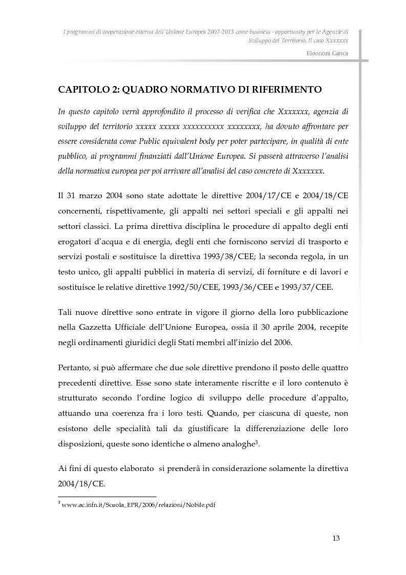 Anteprima della tesi: I programmi di cooperazione esterna dell'Unione Europea 2007-2013 come business - opportunity per le Agenzie di Sviluppo del Territorio., Pagina 5