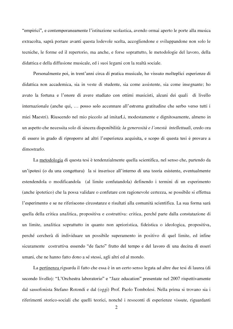 Anteprima della tesi: Il laboratorio di improvvisazione nella didattica jazzistica. Alcune riflessioni ed un'esperienza pratica, Pagina 3