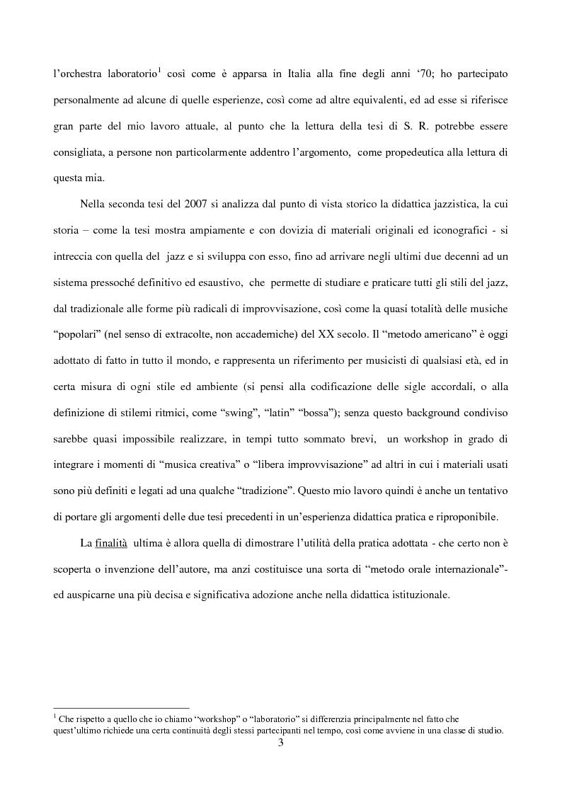 Anteprima della tesi: Il laboratorio di improvvisazione nella didattica jazzistica. Alcune riflessioni ed un'esperienza pratica, Pagina 4