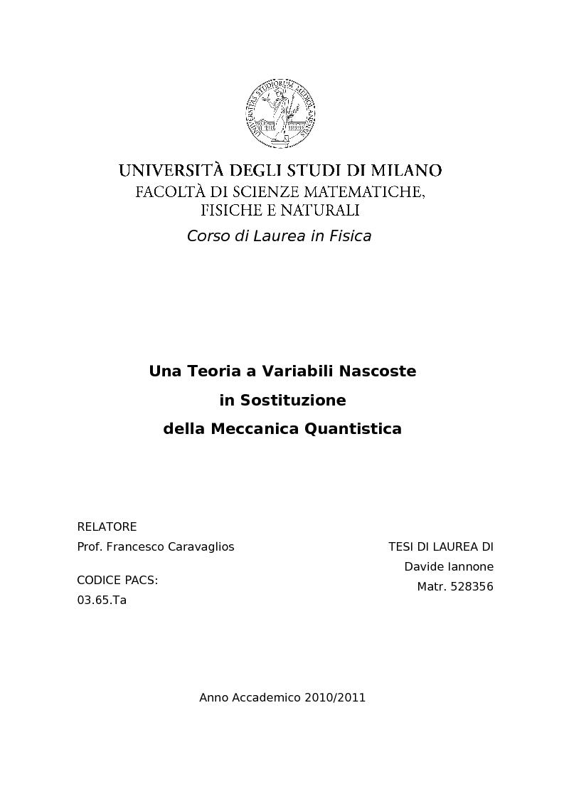 Anteprima della tesi: Una Teoria a Variabili Nascoste in Sostituzione della Meccanica Quantistica, Pagina 1