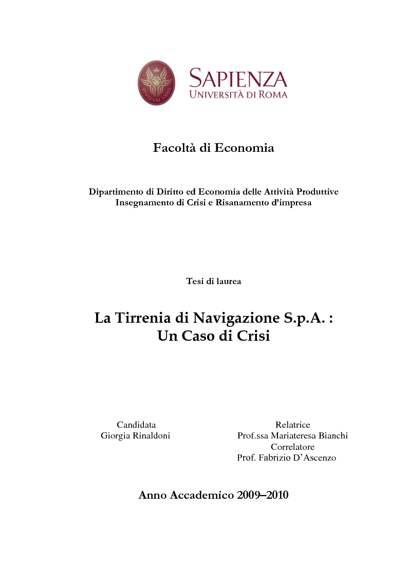 Anteprima della tesi: La Tirrenia di Navigazione S.p.A. : un caso di crisi, Pagina 1