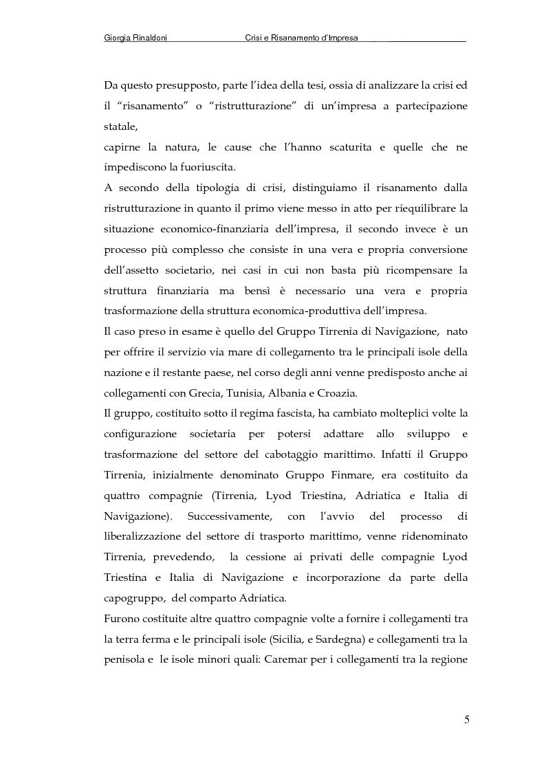 Anteprima della tesi: La Tirrenia di Navigazione S.p.A. : un caso di crisi, Pagina 3